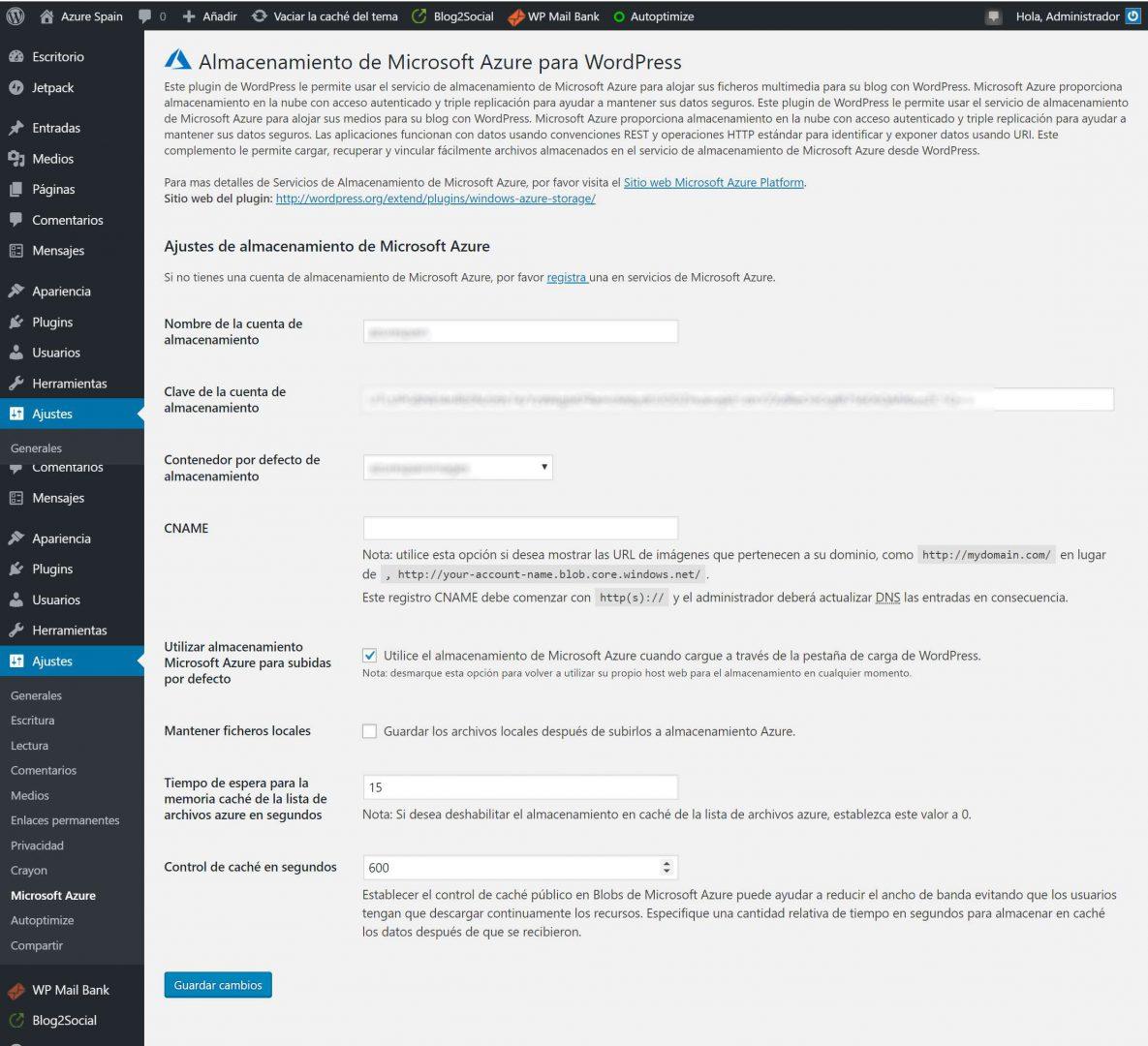 Pantalla de configuración del Plugin para WordPress