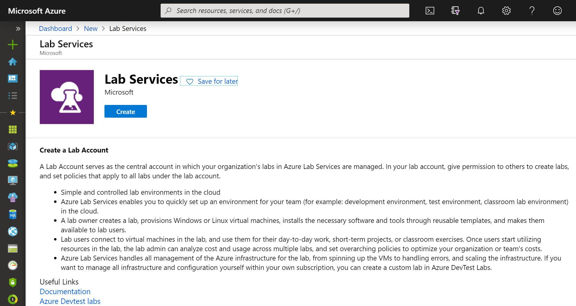 Alta de una cuenta de Azure Labs