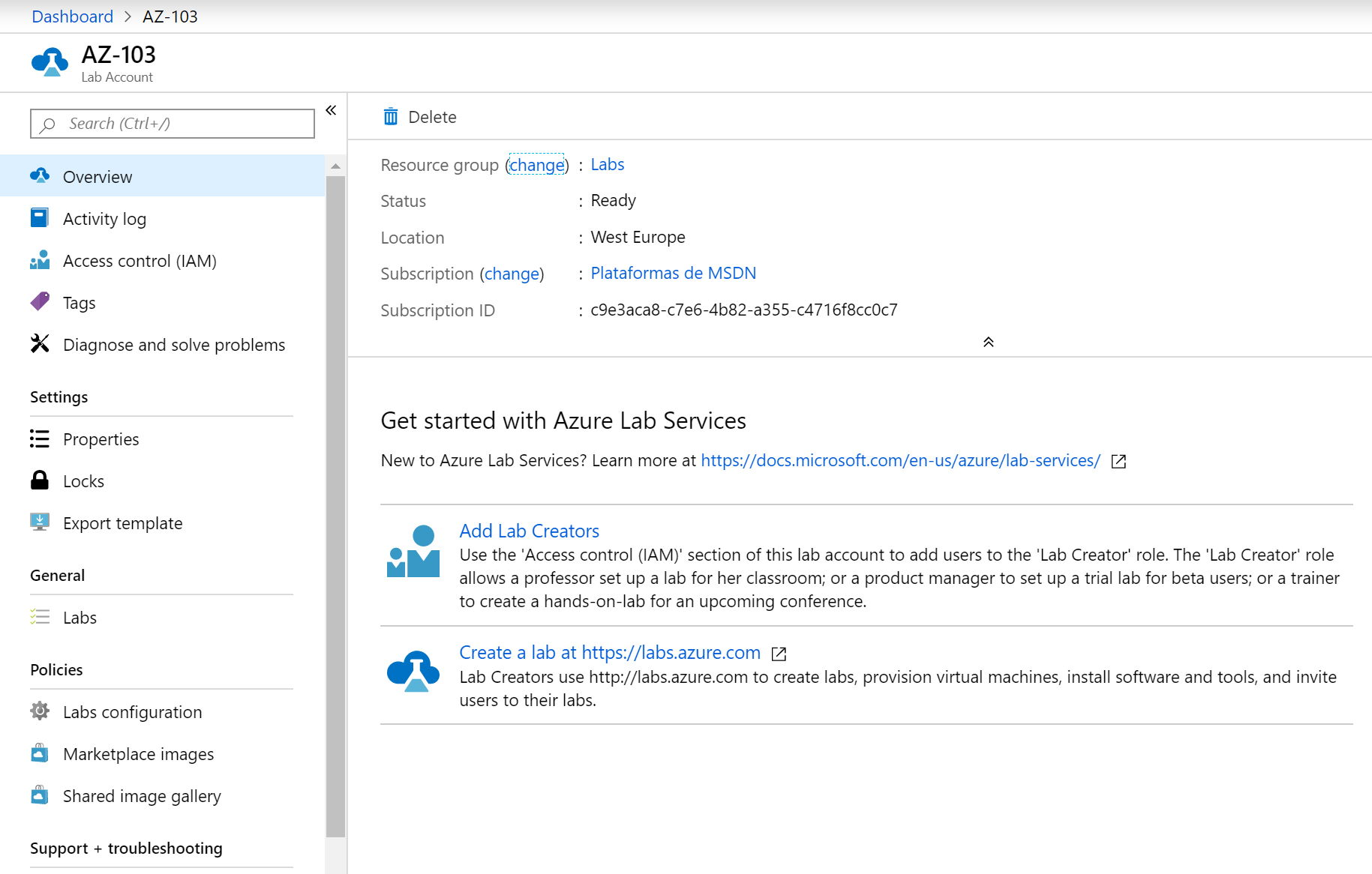Azure Labs Overview