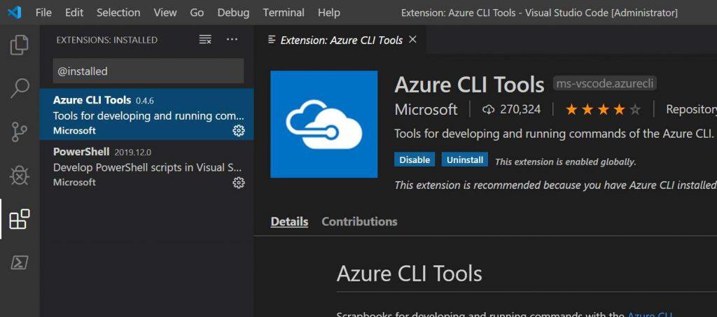 Visual Studio Code con la extensión Azure CLI Tools instalada