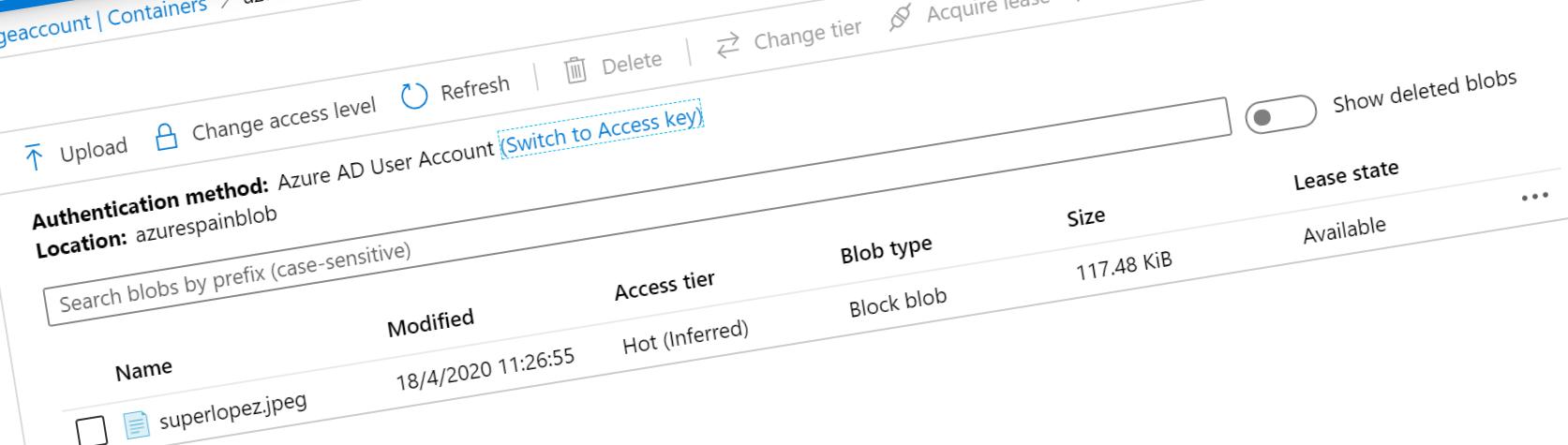 Portada del artículo. Authentication method for Blob Containers