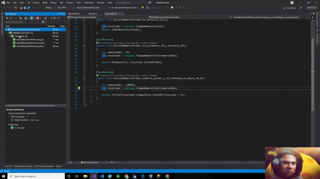 Código en Visual Studio de la función NumerosPrimos