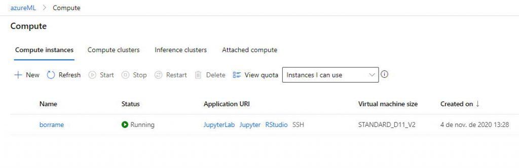 Instancia de computo desde donde puedo seleccionar el entorno de trabajo de Jupyter