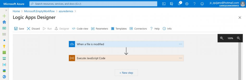 Workflow de Logic App que incluye una action del tipo InlineCode