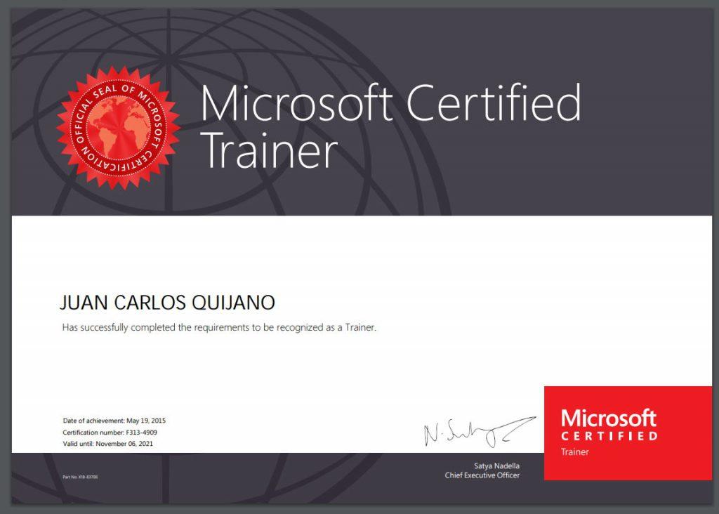 Certificado de Microsoft Certified Trainer renovado hasta noviembre del 2021