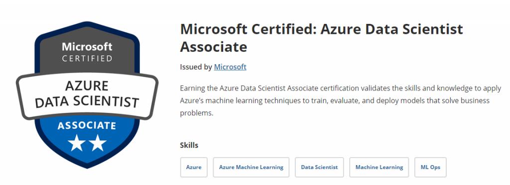 Badged de Azure Security Associated obtenida con la certificación DP-100