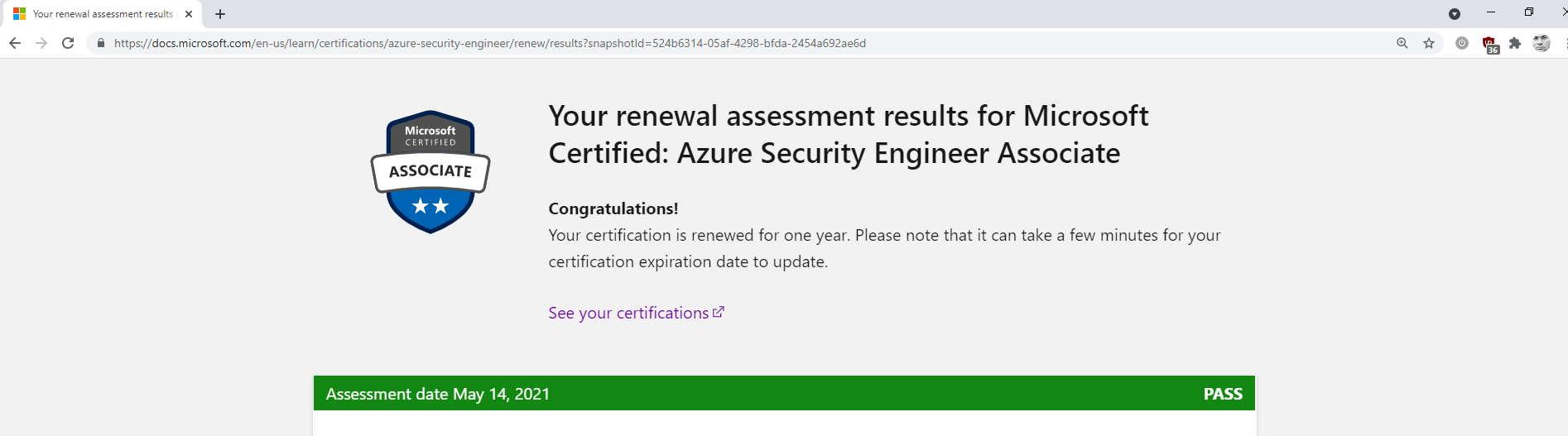 Notificación de que he aprobado el exámen de renovación de la certificación AZ-500 de Seguridad en Azure