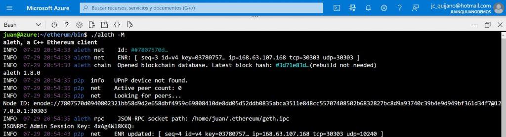 Captura del CloudShell en donde se observa como ./aleth -M ha lanzado el cliente etherum en modo test y que funciona corréctamente.