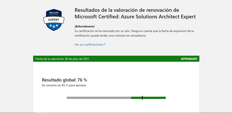 Pantallazo de la notificación de haber aprobado la renovación de la certificación de arquitecto de aplicaciones en Azure